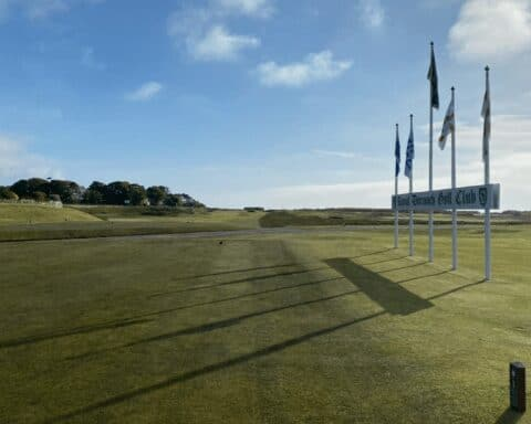The 1st tee at Royal Dornoch Golf Club