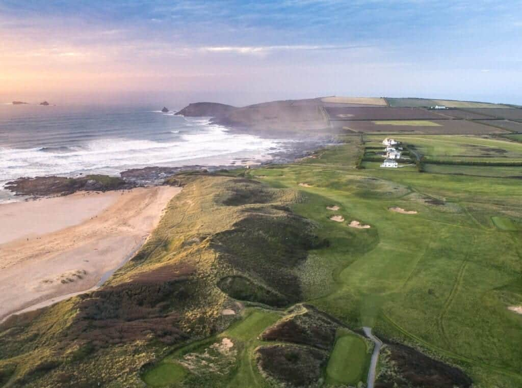 An aerial photograph of Trevose Golf Club, by James Lovett