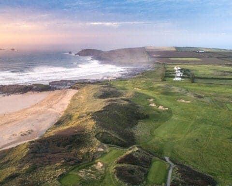 An aerial photograph of Trevose Golf Club, by James Lovett